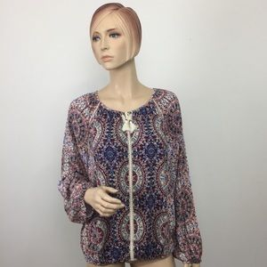 New Directions Multi Tassel Peasant Blouse Small